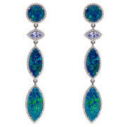OPAL TRIO AND TANZANITE DROP EARRINGS.