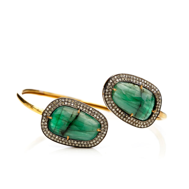 EMERALD AND GOLD BANGLE