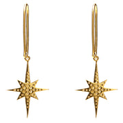 18 K GOLD STARBURST MINI HOOPS.