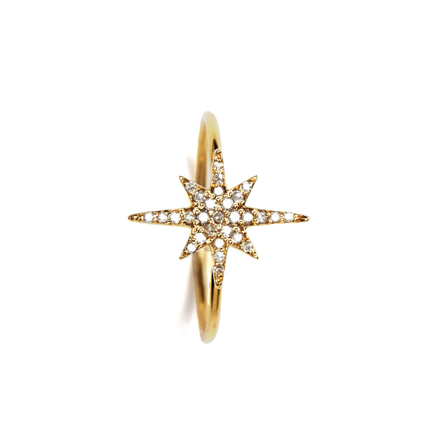 18k GOLD STARBURST RING. PLS . OUT OF STOCK. ENQUIRE FOR ORDERS.