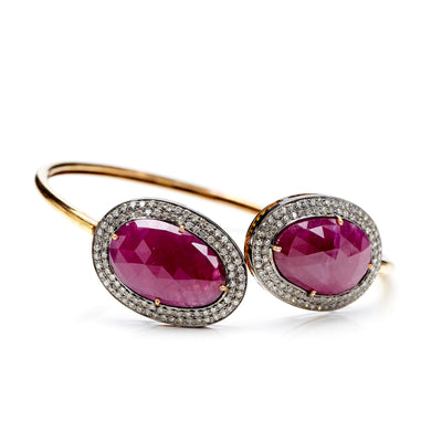 RUBY AND GOLD BANGLE