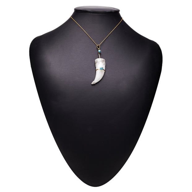 GOLD ICE QUARTZ AND TURQUOISE HORN PENDANT. Out of stock . Pls enquire to order.