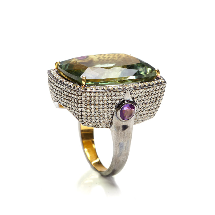 FOREST GREEN AMETHYST AND DIAMOND COCKTAIL RING. Out of stock . Can be made to order.
