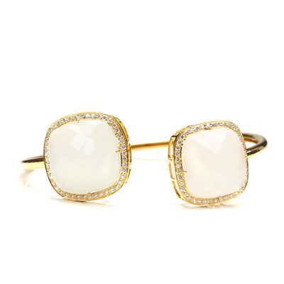 WHITE MOONSTONE DIAMOND BANGLE