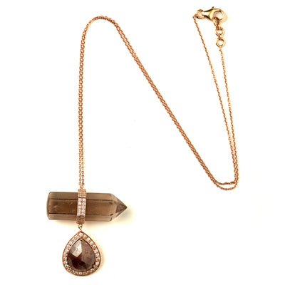 SLICED DIAMOND AND SMOKEY TOPAZ PENDANT