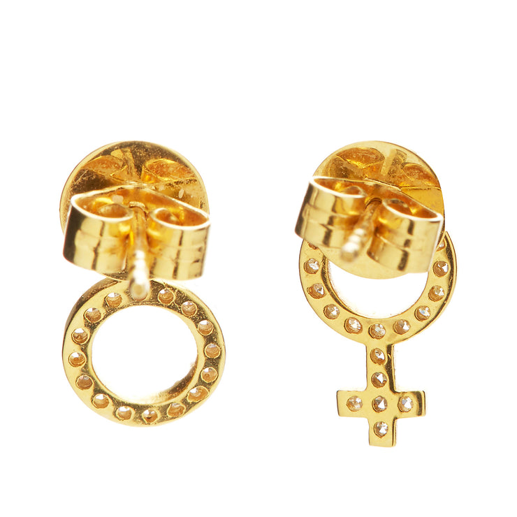 GOLD AND DIAMOND GENDER STUDS
