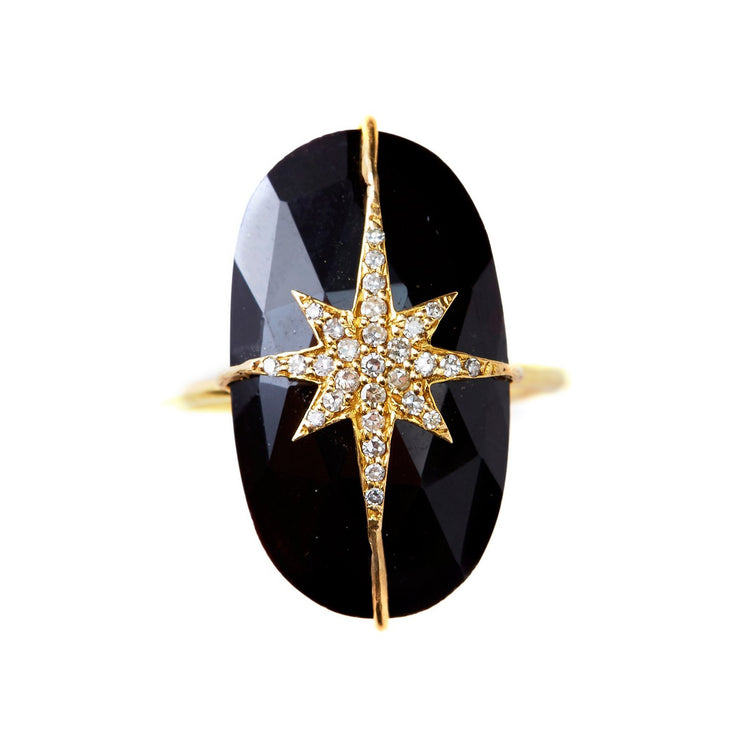 BLACK ONYX STARBURST RING.