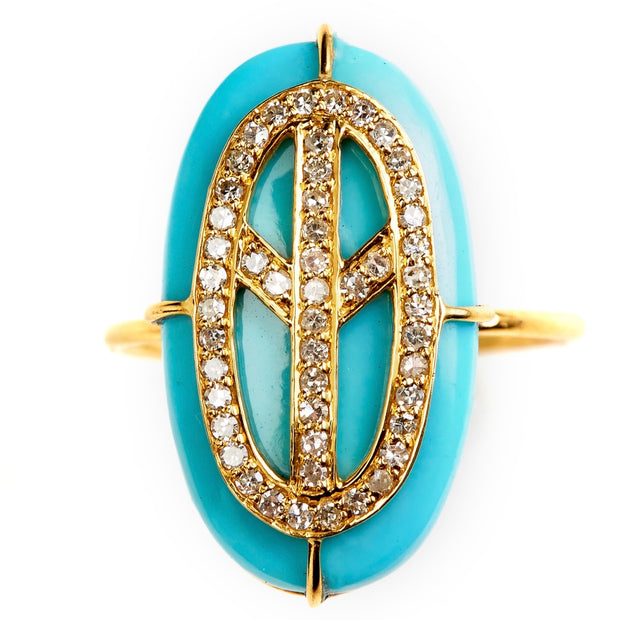 TURQUOISE PEACE RING. Out of stock . Pls enquire to order .