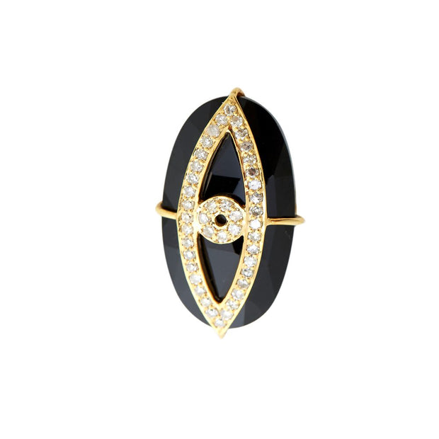 BLACK ONYX EVIL-EYE RING . VERTICAL .
