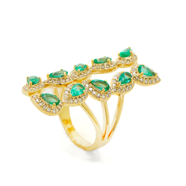 EMERALD VINE LEAF RING.