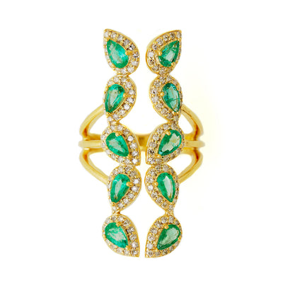 EMERALD VINE LEAF RING. Out of stock.  Re-order 2-3 weeks .