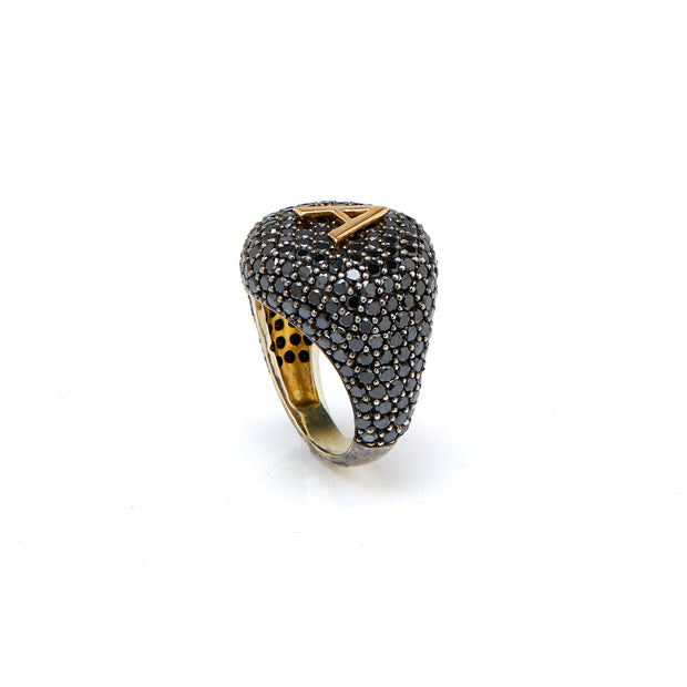 BESPOKE BLACK DIAMOND LETTER RING