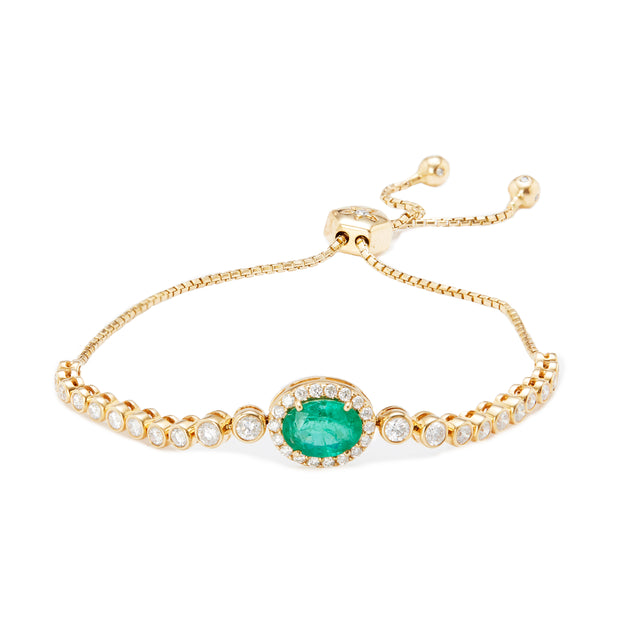 Diamond bolo bracelet with emerald