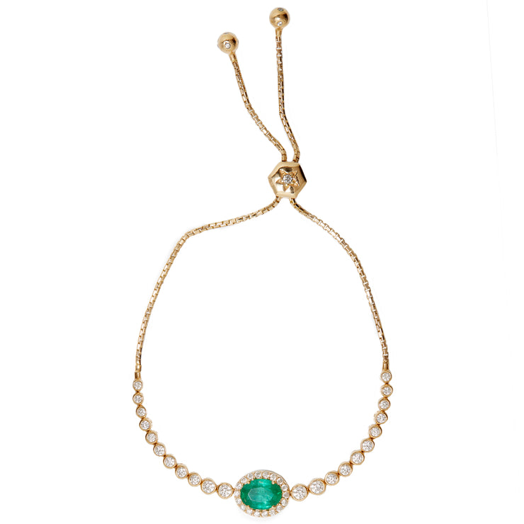Diamond bolo bracelet with emerald. In stock