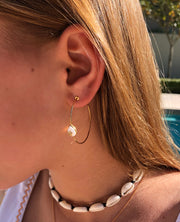 White Onyx Star Hoops