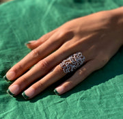 LONG GOLD AND LACE DIAMOND RING.  Can be made to order.