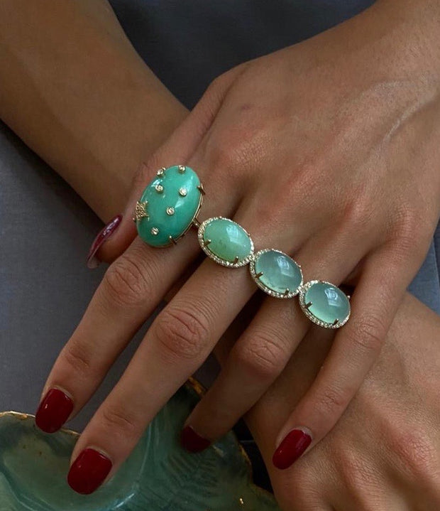 MENAGE A TROIS CHRYSOPRASE RING