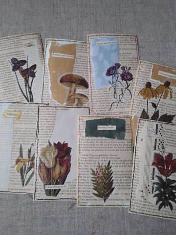 Set of 8 Hand Sewn Botanical Journal Cards - SS