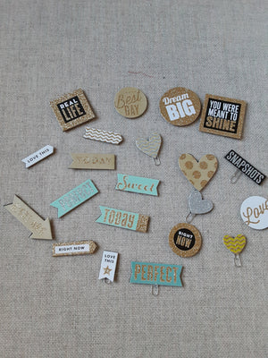 Glittery Chipboard Paperclips- set of 21- SS