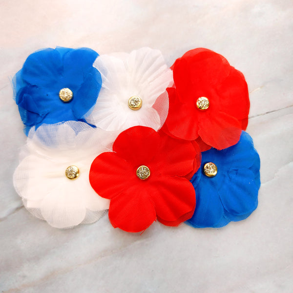 Red White Blue Flowered Paperclips - Tami