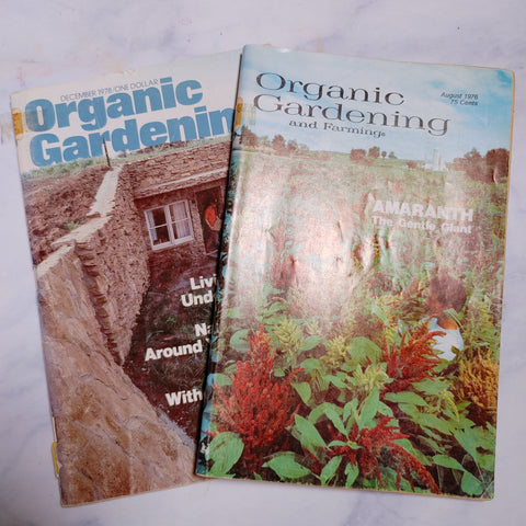 Vintage 1970s Organic Gardening Magazines set of 2 - Above Parr