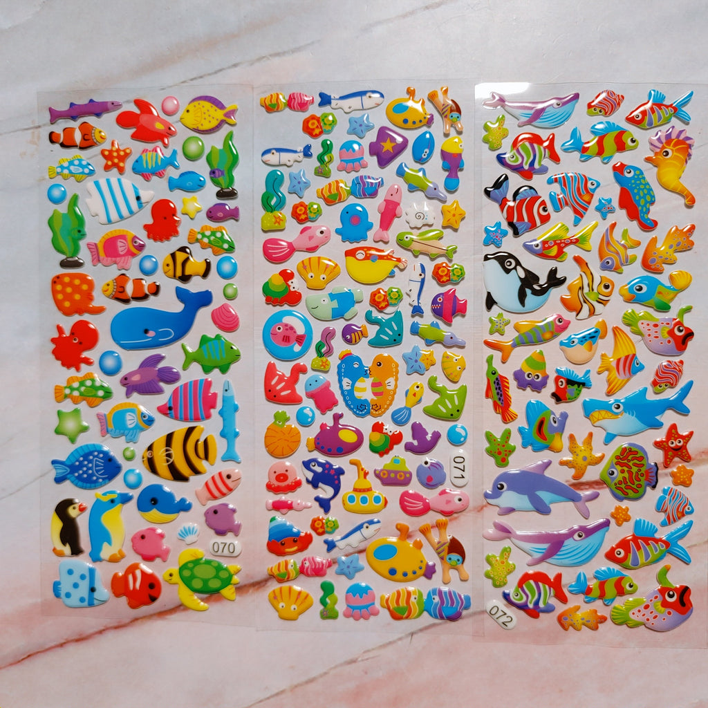 Sealife Puffy Stickers 3 sheets - LZ