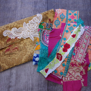 14 Indian Trims in Fabric Pouch- Cheri