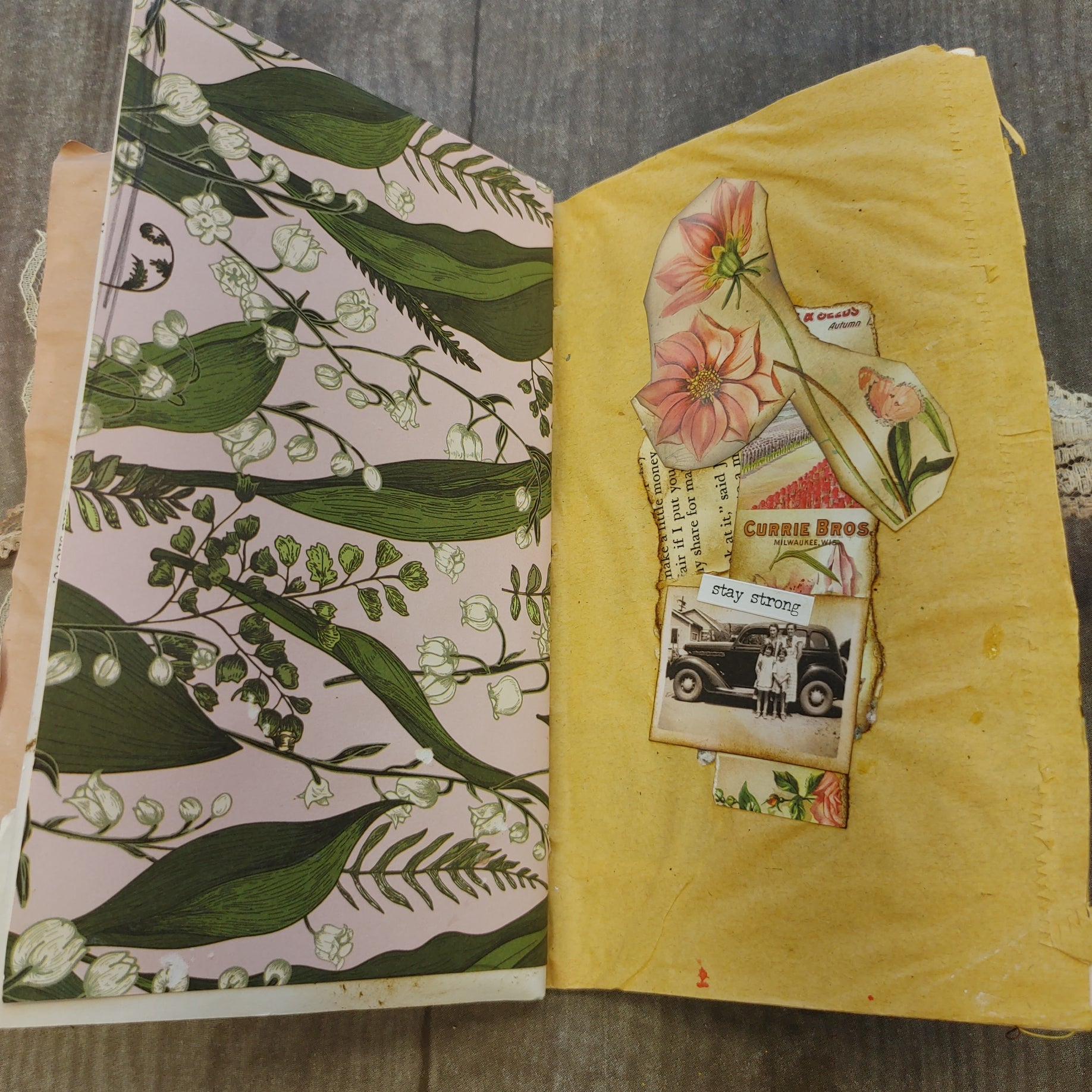 Set of 2 Green Butterfly Junk Journal Notebooks by Sandy Loar