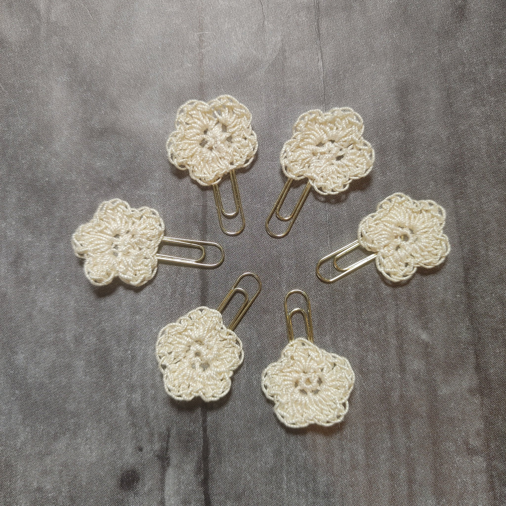 Cream Flower Hand Crocheted Paper Clips - CZ