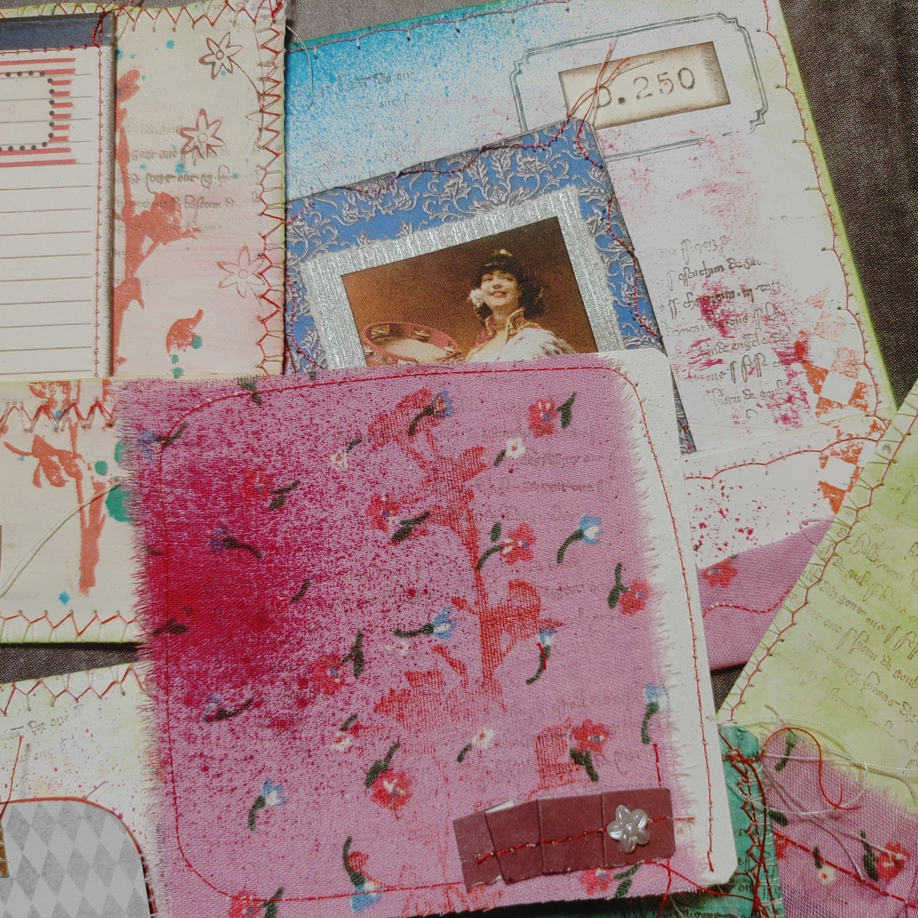 Bright Mixed Media Stitched  Pockets & Journal Cards - LZ