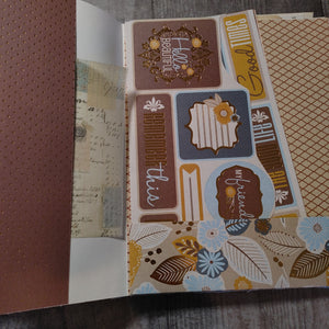 Blue & Brown Large Expandable Refillable Ephemera Book - VP