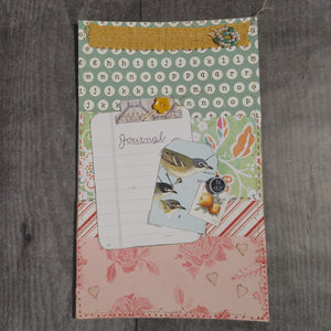Fruit & Bird Stitched Collaged Journal Cover Front- LZ