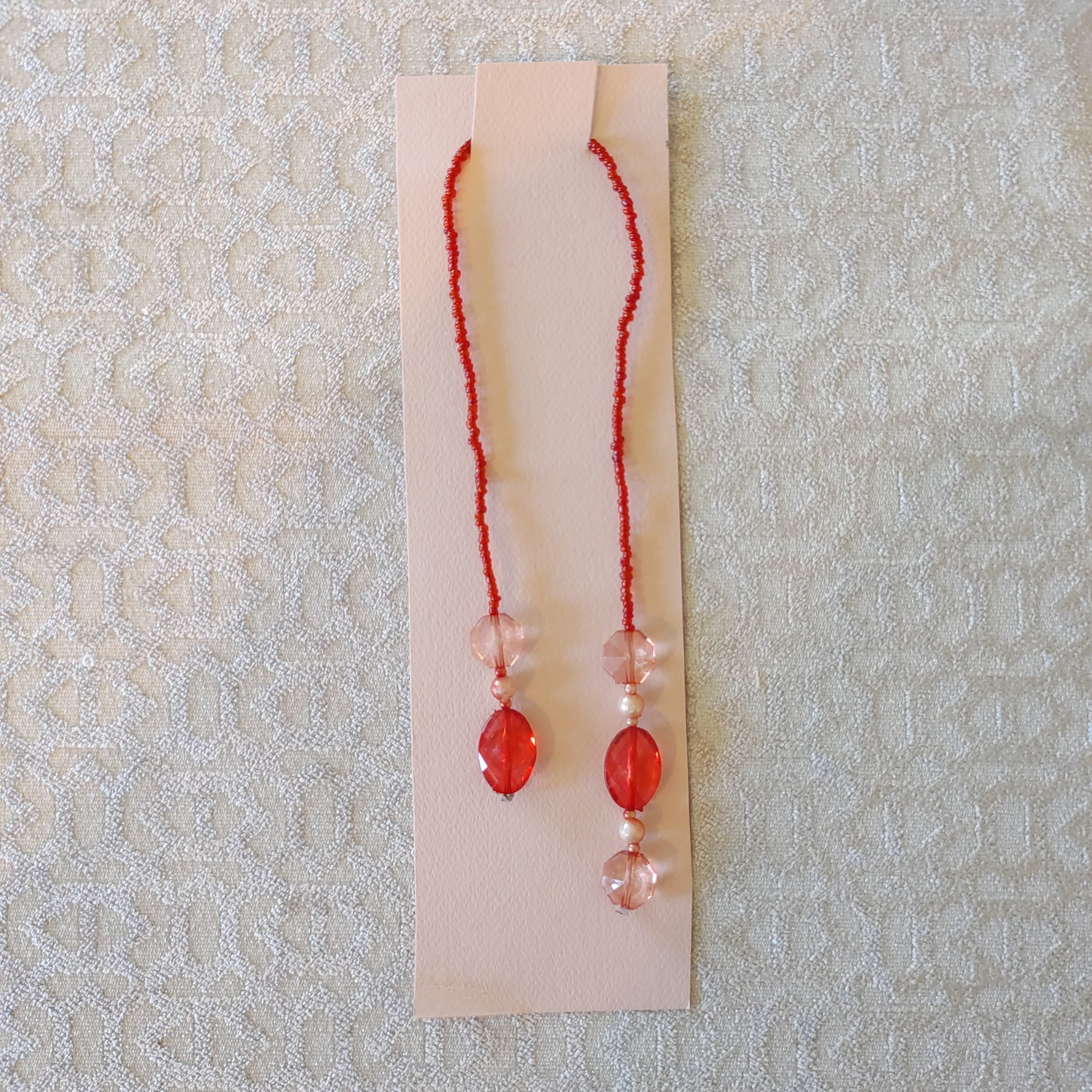Rose Red Beaded Bookmark - Barb H.