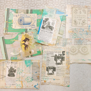 Mixed Media Stitched Sewing Journal Cards - LZ