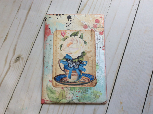 Decorated Pouch filled with Large, Collaged Journal Cards -JH