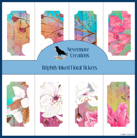 Brightly Inked Floral Tickets PRINTED