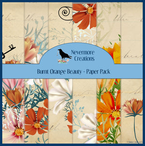 Burnt Orange Beauty PRINTED Journal Pages - set of 6