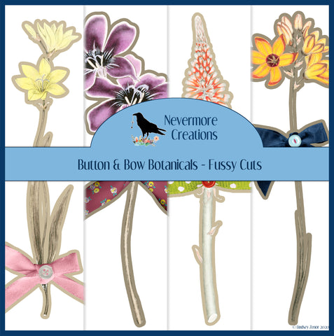 Button & Bow DIGITAL Fussy Cut Botanicals