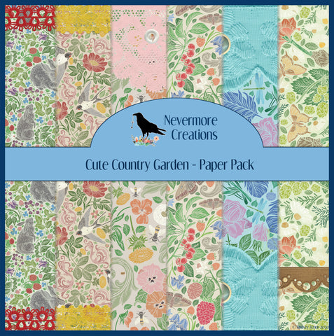 Cute Country Gardens DIGITAL Paper Pack