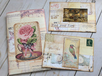 Collaged & Decorated 4x6 Journal Cards in a Pouch -JH