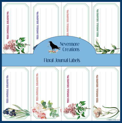 "Floral ""This Journal Belongs To"" PRINTED Labels"
