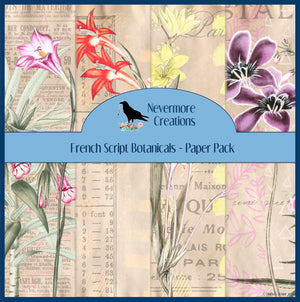 French Script Botanicals PRINTED Paper Set