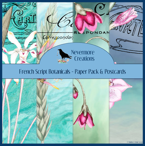French Script Postcard Botanicals PRINTED Pages & Journal Cards