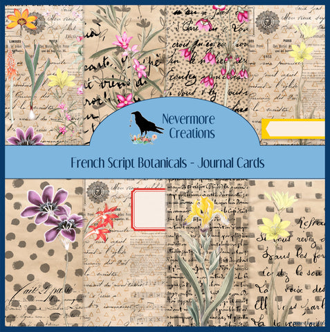 French Script Botanical DIGITAL Journal Cards