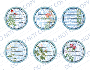 Geometric Floral DIGITAL Circle Labels