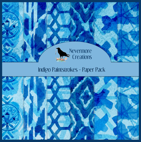 Indigo Paintstrokes DIGITAL Paper Pack