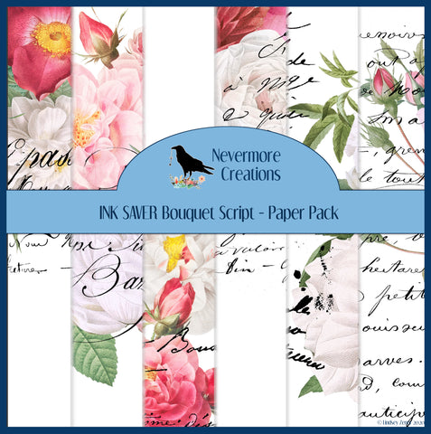 INK SAVER Bouquet Script DIGITAL Paper Pack