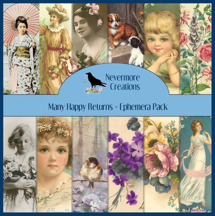 Many Happy Returns PRINTED Ephemera Pack - 45 Images