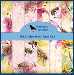 Pink & Yellow Bees PRINTED Paper Pack