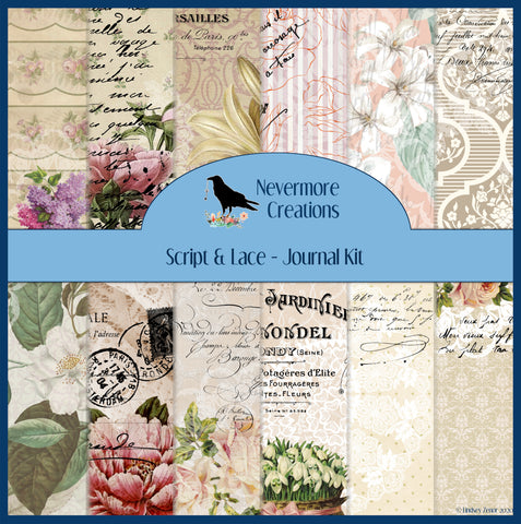 Script & Lace Digital Journal Kit